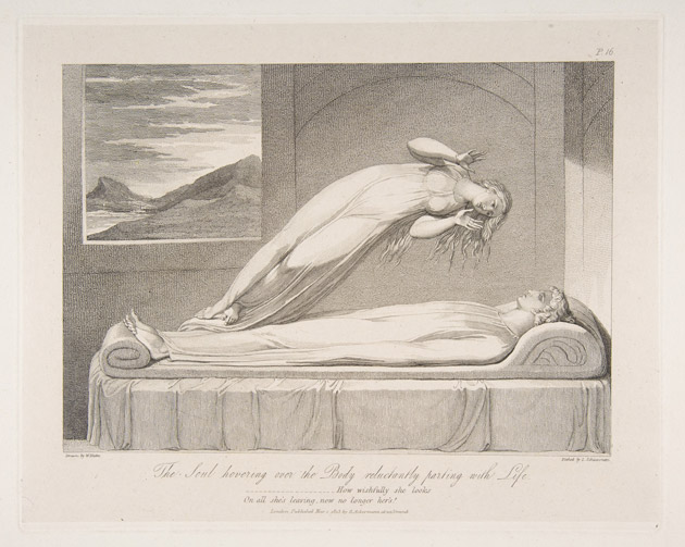 "The Soul. William Blake's portrayal of the soul departing the body upon death captures what most people believe to take place. An illustration from a series designed by Blake for an edition of the poem ""The Grave"" by Robert Blair, engraved by Louis Schiavonetti in 1813, titled <em>The Soul Hovering over the Body, Reluctantly Parting with Life</em>. Courtesy of the Metropolitan Museum of Art."" width=""630″ height=""503″></p> <p class="